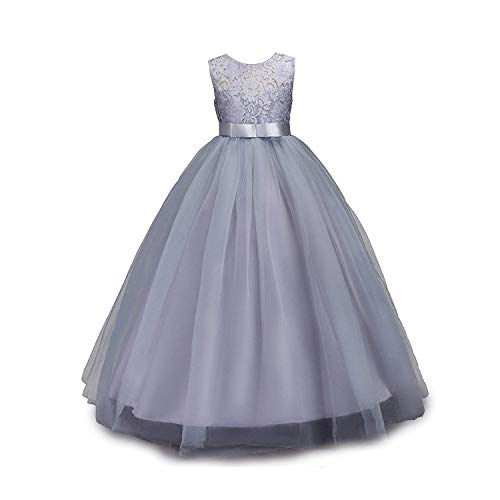 IWEMEK Girls Tulle Lace Flower Wedding Bridesmaid Dress Floor Length Princess Long A Line Pageant Formal Prom Dance Gown Gray