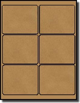 120 Label Outfitters Brown Kraft Labels, 4 x 3.33 inches, 6 Labels per Sheet, 20 Sheets, Yield 120 Labels