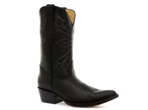 Grinders Womens Dallas Black Real Leather Boot Cowboy Western Mid Calf Toe Boots UK 3 / EU 36
