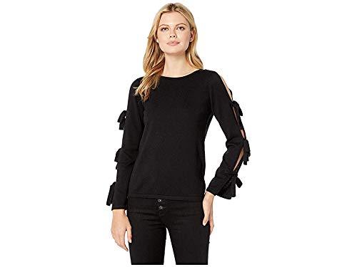 CeCe Women's Slit Bell Sleeve Sweater w/Bows Rich Black - Sleeve Sweater Bow