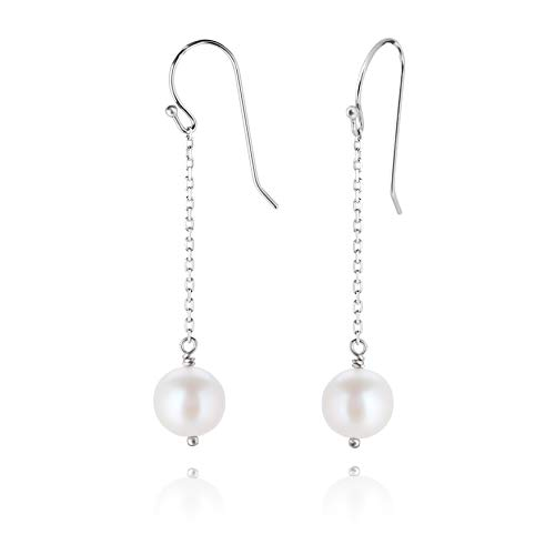 PZ Paz Creations 925 Sterling Silver Pearl Dangle Earrings ()