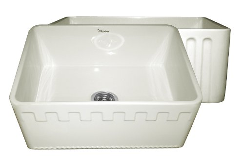 Whitehaus WHFLATN2418 24-Inch Reversible Series Fireclay Sink with An Athinahaus Front Apron One Side and Fluted Front Apron on Opposite Side, Biscuit by Whitehaus Collection