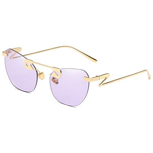 marco y Metal sol Vintage Z forma Sin Hombres de mujeres Yefree moda De Púrpura de Piernas en Gafas qCPFRwxU