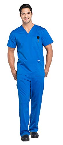 Cherokee Workwear Revolution Men's Medical Uniforms Scrub Set Bundle - WW670 V-Neck Top & WW140 Drawstring Pants & MS Badge Reel (Royal - Small/Small Short)