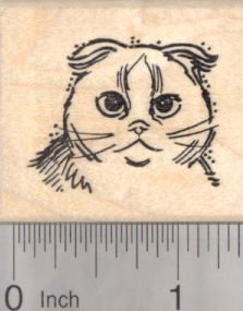 Scottish Fold Kitty Portrait Rubber Stamp, Cat Face