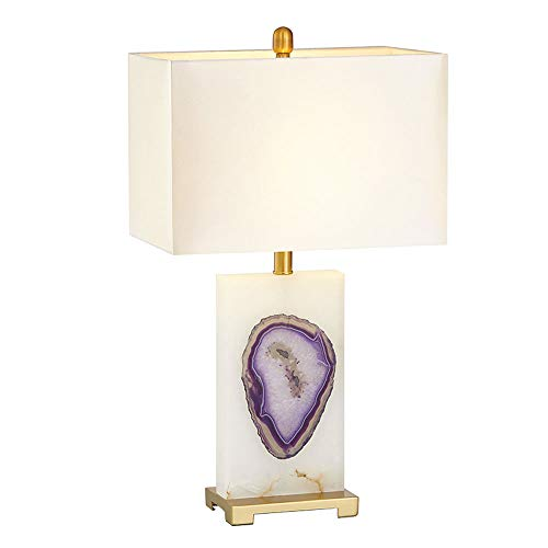 (Modern Bedside Table Lamp, Elegant Fabric Lampshade, Simple Purple Agate Marble Base Bedroom Table Lamp for Living Room Study Office Home Decoration, E27, Push Button Switch)