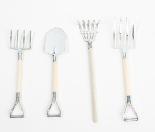 Unfinished Metal Miniature (8 Piece Wee Garden Tool Set Made of Metal with Wooden Handles for Crafting, Creating and Designing- 2 Sets 8 Total Tools)