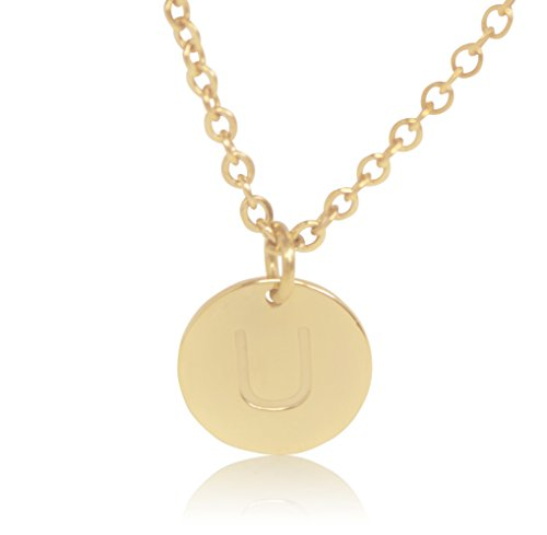 """18K Gold-Plated Round Disc Engraved Initial Pendant 18"""""""