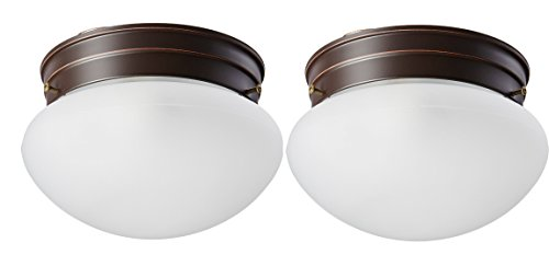 (Nuvo Lighting 60/2641 Single Light Small Mushroom Flush Mount Ceiling Fixture with Frosted Glass Shade (2 Pack, mahogany bronze))