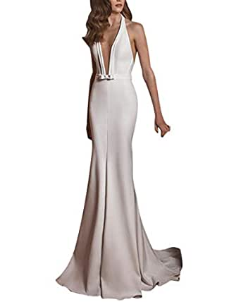 Amazon.com: Women Hanging Neck Long Dress Deep V Satin