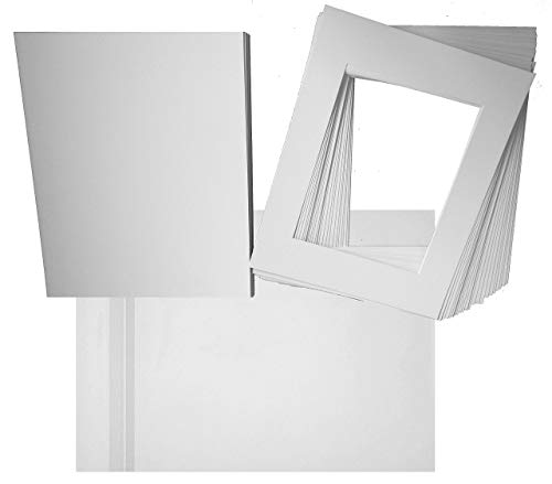 Hall of Frame Pack of 25 16x20 Picture Mats with White Core Bevel Cut for 11x14 Picture Matte Sets + Backing + Bags, (16x20 Complete Set) 4ply Comes in Various Colors (White) ()