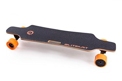 "BLITZART Huracane 38"" Electric Skateobard Longboard E-Skateboard Motorized Electronic Hub-Motor 3.5"" Wheels (Orange)"