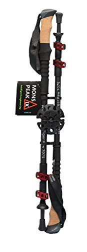 Mons Peak IX Tiger Paw 7075 Trekking Poles for Hiking, Trekking, Walking, Snowshoeing – Cork Grip, Collapsible, Adjustable and Lightweight Poles
