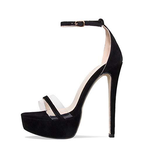 Onlymaker Women's Sexy High Heel Stiletto Sandals Platform Pumps Ankle Strap Open Toe Single Band Dress Party Shoes Black 2 5 M US