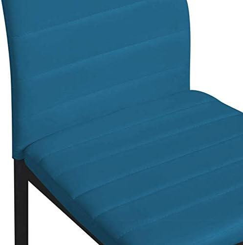 IDMarket - Lot de 6 chaises Romane Bleu Canard pour Salle à Manger
