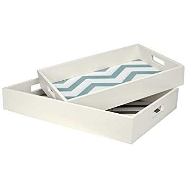 (Set of 2) Retro Style White Wooden Chevron Patterned Food Serving Trays / Platters - Gray and Turquoise