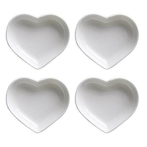 SOCOSY Heart-shaped Multipurpose Ceramic Sauce Dish Seasoning Dishes Sushi Dipping Bowl Appetizer Plates Serving Dish Saucers Bowl(Set of - Plate Set Shaped