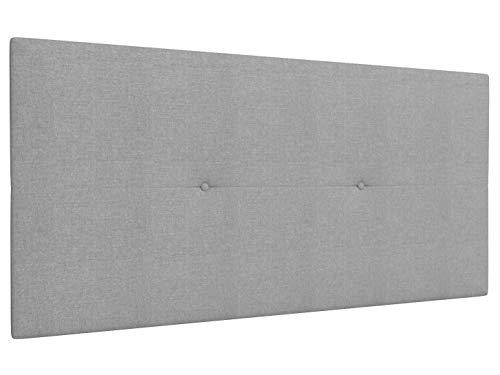 LA WEB DEL COLCHON Cabecero de Cama tapizado Acolchado Camile 115 x 55 cms Apto para Camas de 90 y 105 Textil Poliester Gris Claro Incluye herrajes para Colgar con regulador de Altura