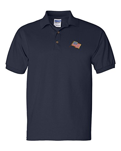 American Flag Custom Personalized Embroidery Embroidered Golf Polo Shirt - Golf Flag Embroidery