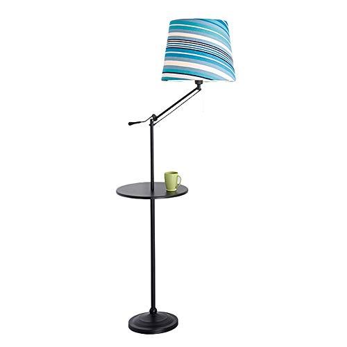 (Belief Rebirth Modern Adjustable Swing Arm Floor Lamp - Black Finish - Large Color Stripe Design Cylinder Light Shade - Complete with Round Tray Desktop, Bedroom Bedside Stand)