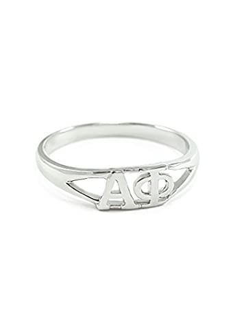 Sterling silver Alpha Phi ring with cut-out letters size 8