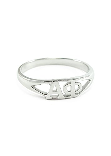 Sterling silver Alpha Phi ring with cut-out letters size 7