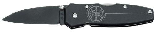 Black Lightweight Lockback Knife with Black Aluminum Handle, 2-1/4-Inch Drop-Point Blade Klein Tools 44000-BLK