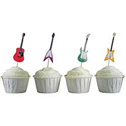 BeBeFun Cupcake Toppers Musical Guitar Shape Cupcake Decorating Tools for Party Supplies 24 Pieces in Pack.(Guitar)