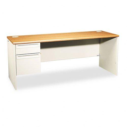 HON 38855LML 38000 72 by 24 by 29-1/2-Inch Left Pedestal Credenza, Putty Frame/Medium Oak Top ()
