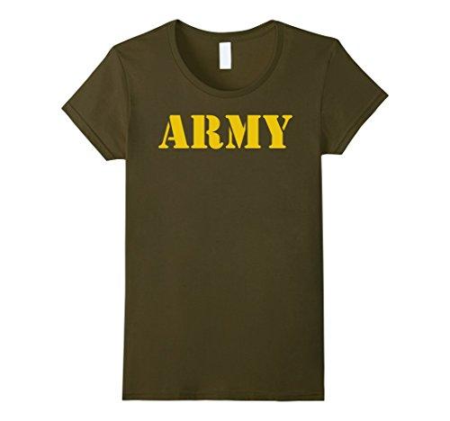 Womens Vintage Army Logo Shirt APFU Workout Tee Large Olive
