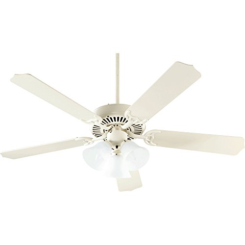 Quorum International 77525-1667 Capri VI 52-Inch 3 Light  Ceiling Fan, Antique White Finish with Alabaster Glass  Light  Kit and Antique White Blades