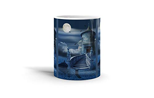 (Ceramic Coffee Mug Phantasy Imagination Cup A Mystical Castle In The Sea A Mysterious And Romantic Fantasy Dream Drinkware Super White Mugs Family Gift Cups 11oz 325ml)