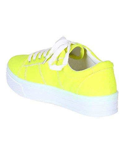 Qupid Be65 Kvinnor Canvas Flatform Plattform Snörning Ranka Sneaker - Neongul
