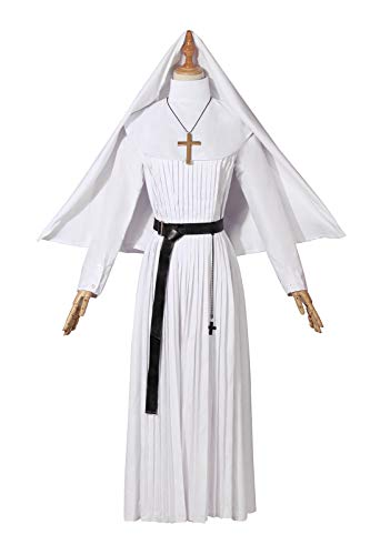 (Women's Nun Costume Hat Set Hooded Long Sleeve Mother Superior Gown Deluxe Church Priest Robe Renaissance)
