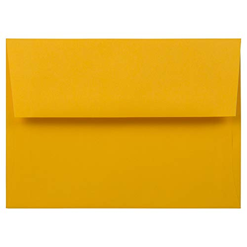 - JAM PAPER A7 Colored Invitation Envelopes - 5 1/4 x 7 1/4 - Gold Yellow - 50/Pack