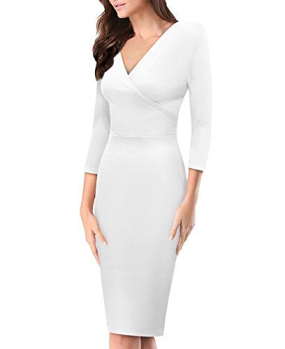 Women's Plum Cross V Neck MIDI Dress KDR44322 1073T White Large