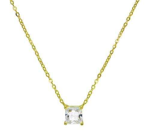 Square CZ Princess Cut Square Solitaire Pendant Necklace .925 Sterling -