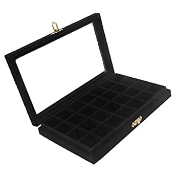 Prettyia Jewerly Box Organizer Case Jewelry Display Tray Watch Storage Case for Women with Clear Lid - 5 Color Velvet - Black, as described