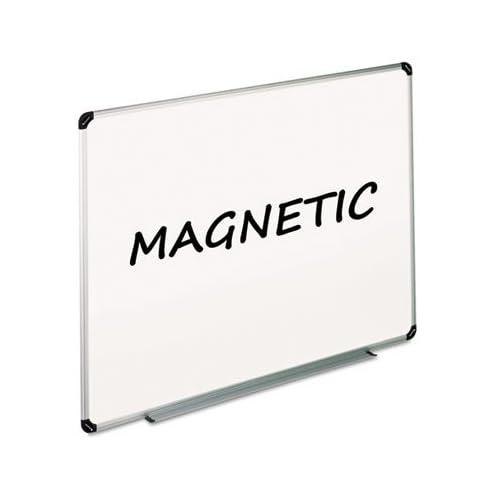 - Magnetic Dry Erase Board, Melamine, 72 x 48, White, Aluminum/Plastic Frame