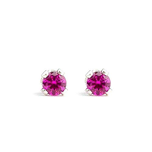 9b8372ff5a01c 3mm Tiny Hot Pink Ruby Gemstone Stud Earrings in Sterling Silver - July  birthstone