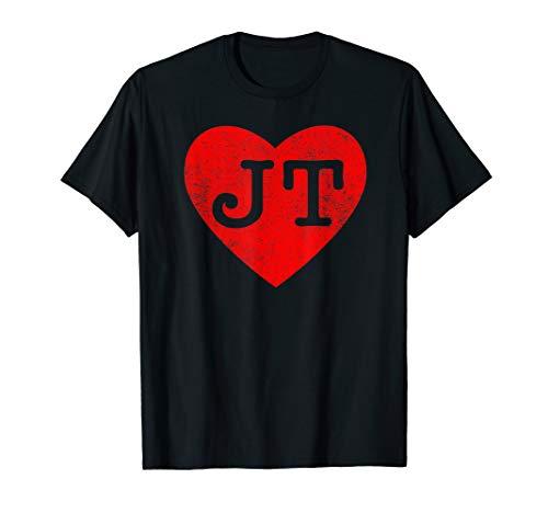 Justin Timberlake Black Shirt - I love JT heart funny JT vintage gift t-shirt