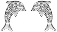1001 Bijoux-Pendientes de delfín, eje rodiado óxidos blancos engarzar
