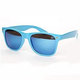 Lunettes De Soleil Style Wayfarer Retro Vintage 80'S Monture Bleu Verres Effet Miroir Bleu - Absolute Discount C'Est + De 1000 References En Magasin xn1VT