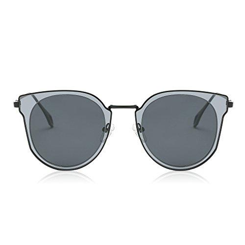 Miroir unisexe Double Lentilles Lens Polarized Rond Protection de soleil SJ1057 UV Vintage SOJOS Circle lunettes qOwE4xnaXY