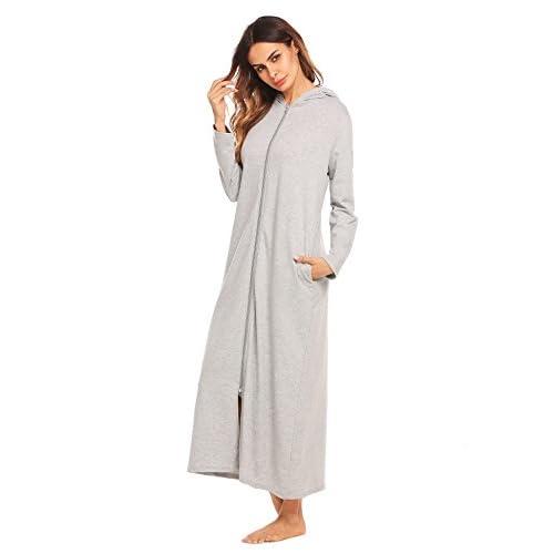 durable service Declare Women Loose Long Sleeve Zip-Front Hoodie Bathrobe  with Pockets Sleepwear Long 62e2300cf