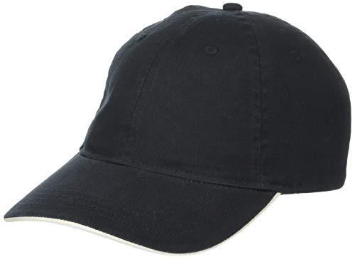(Clementine Men's ULTC-8104-Cut Chino Cotton Twill Unconstructed Sandwich Cap, Black/Stone, One Size)
