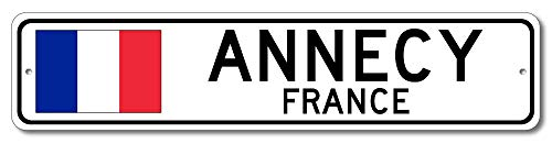 Annecy, France - French Flag Street Sign - Aluminum 4