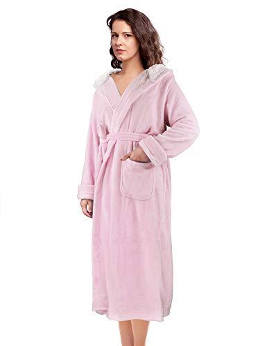 Women's Fleece Long Robe Soft Hooded Bathrobe Wrap Robe Dressing Gown for Girls Pink