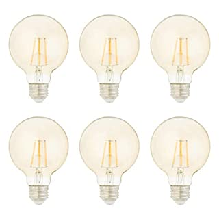AmazonBasics 40 Watt Equivalent, Clear, Amber, Dimmable, G25 LED Light Bulb | 6-Pack