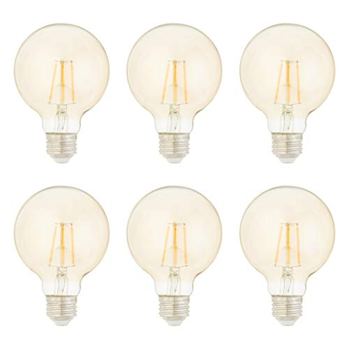 AmazonBasics 40 Watt Equivalent, Clear, Amber, Dimmable - G25 LED Light Bulb, 6-Pack
